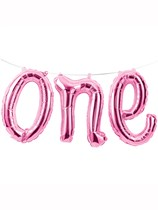 """First Birthday One Foil Balloon Banner 12"""" - Pink"""