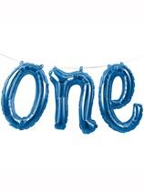 "First Birthday One Foil Balloon Banner 12"" - Blue"