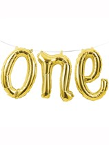"""First Birthday One Foil Balloon Banner 12"""" - Gold"""