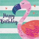 Flamingo Happy Birthday Lunch Napkins 16pk