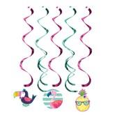 Pineapple Flamingo & Friends Hanging Decorations 5pk