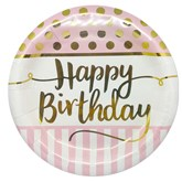Foil Stamped Happy Birthday 23cm Paper Plates 8pk