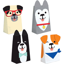 Dog Shaped Party Paper Treat Bags 8pk