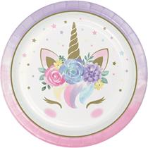 Unicorn Baby 23cm Paper Plates 8pk