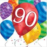 90th Birthday Balloon Blast Luncheon Napkins 16pk