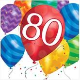 80th Birthday Balloon Blast Luncheon Napkins 16pk