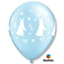 Qualatex Pearl Blue Rabbit Flower Latex Balloons 25 Pack