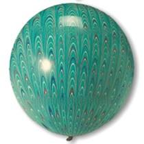 "Green Peacock Print 18"" (1.5ft) Latex Balloons 5pk"