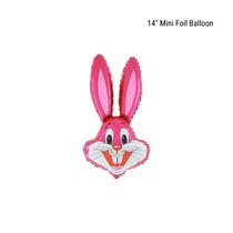 "Hot Pink Bunny Head 14"" Foil Balloon Loose"