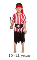 Childrens Pirate Fancy Dress Costume 10 - 12 yrs