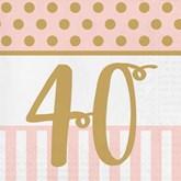 Deluxe 3-ply 40th Birthday Napkins 20pk