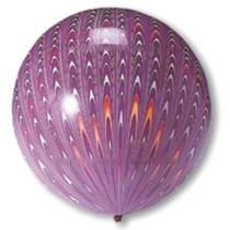 "Purple Peacock Print 18"" (1.5ft) Latex Balloons 5pk"