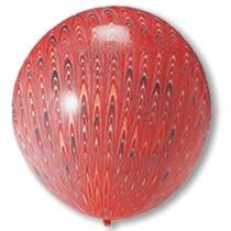 "Red Peacock Print 18"" (1.5ft) Latex Balloons 5pk"