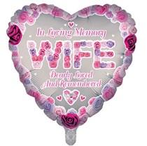 "Wife Memorial 18"" Heart Shaped Foil Balloon"