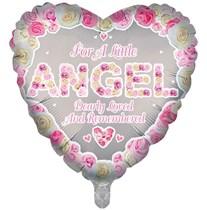 """Pink Angel Memorial 18"""" Heart Foil Balloon"""
