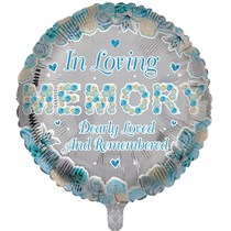 """In Loving Memory Blue 18"""" Round Foil Balloon"""
