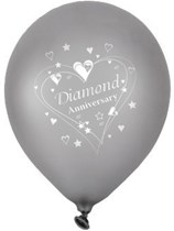 """Diamond Anniversary Wishes 12"""" Latex Balloons 6pk"""