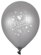 "Pearl Anniversary Wishes 12"" Latex Balloons 6pk"