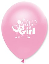 """Pink Pearl It's A Girl 12"""" Latex Balloons 6pk"""