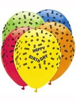 """Block Party Happy Birthday 12"""" Latex Balloons 6pk"""