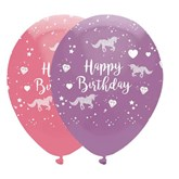 Unicorn Happy Birthday Latex Balloons 6pk