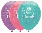Mermaid Happy Birthday Latex Balloons 6pk