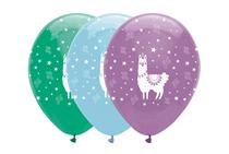 "Llama Assorted Colour 12"" Latex Balloons 6pk"