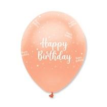 "Rose Gold Happy Birthday 12"" Latex Balloons 6pk"