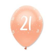 "Rose Gold Age 21 Birthday 12"" Latex Balloons 6pk"