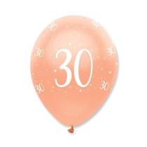 "Rose Gold Age 30 Birthday 12"" Latex Balloons 6pk"