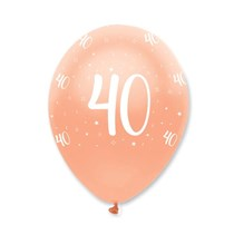 "Rose Gold Age 40 Birthday 12"" Latex Balloons 6pk"