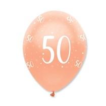"Rose Gold Age 50 Birthday 12"" Latex Balloons 6pk"