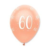 "Rose Gold Age 60 Birthday 12"" Latex Balloons 6pk"