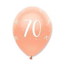"Rose Gold Age 70 Birthday 12"" Latex Balloons 6pk"