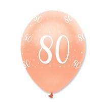"Rose Gold Age 80 Birthday 12"" Latex Balloons 6pk"