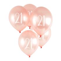 "Age 21 Rose Gold 12"" Latex Balloons 5pk"