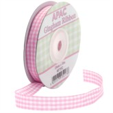 Light Pink Gingham Ribbon 20m