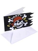 Jolly Roger Pirate Invitations & Envelopes 6pk