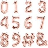 """Rose Gold 16"""" Foil Number & Symbol Balloons"""