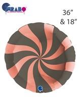 "Swirly Rose Gold & Platinum Grey 36"" & 18"" Round Foil Balloons"