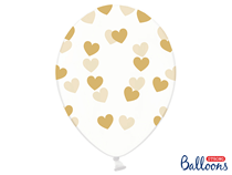 """Crystal Clear 12"""" Latex With Gold Hearts 6pk"""