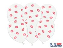 "Printed Lipstick Lips White 12"" Latex Balloons 6pk"