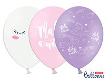 "Assorted Pastel Unicorn 12"" Latex Balloons 6pk"