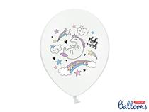 Pastel White Double Side Print Unicorn Latex Balloons 6pk