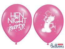 """Hen Night & Willy Hot Pink 12"""" Latex Balloons 6pk"""