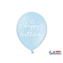 "Happy Birthday Pastel Blue 12"" Latex Balloons 6pk"