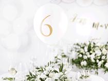"Pastel White Wedding Table Number 12"" Latex Balloons 10pk"