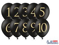 "Pastel Black Wedding Table Number 12"" Latex Balloons 10pk"