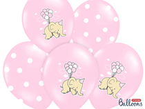 """Pink Elephant And Pink Polka Dot 12"""" Latex Balloons 6pk"""