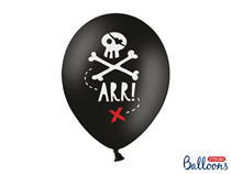 """Pastel Black Pirate Double Sided 12"""" Latex Balloons 6pk"""